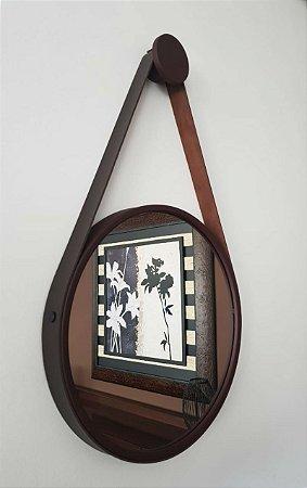 Espelho Adnet Decorativo Com Alça Em Couro 40 Cm - Brendalux Cor: MARROM / MARROM