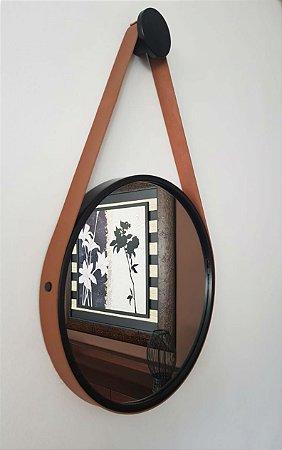 Espelho Adnet Decorativo Com Alça Em Couro 40 Cm - Brendalux Cor: PRETO / CARAMELO