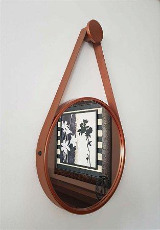 Espelho Adnet Decorativo Com Alça Em Couro 30 Cm - Brendalux Cor: COBRE/ CARAMELO