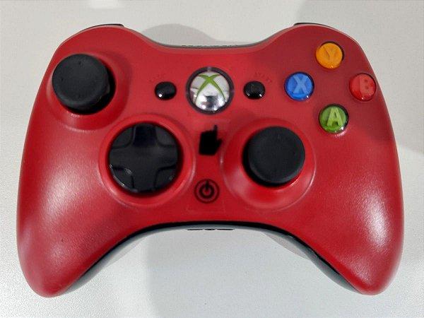 Controle Xbox 360 Original Vermelho Sem Fio Seminovo