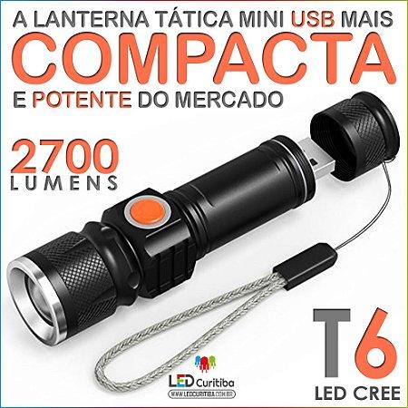Lanterna Led Tática Carrega Usb 5v Led T6 Cree Super Forte