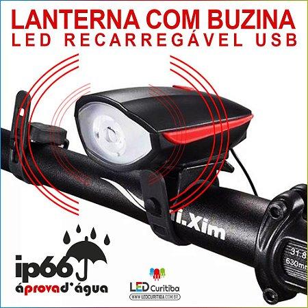 Farol Lanterna Com Buzina Sirene Para Bike Led Recarregável