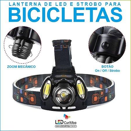 Lanterna Para Bike E Cabeça 3 Leds Cree Recarregável T6 Usb