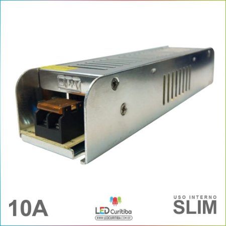 Fonte Chaveada Slim 10a 12v Bivolt Para Fitas De Led Cameras CFTV