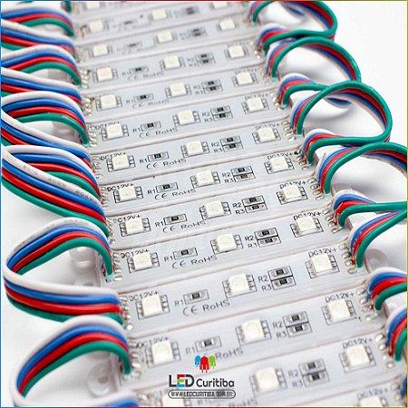 Kit 30 Módulo de 3 Led RGB Para Letra Caixa RGB Smd 5050 12v Ip65 Externo