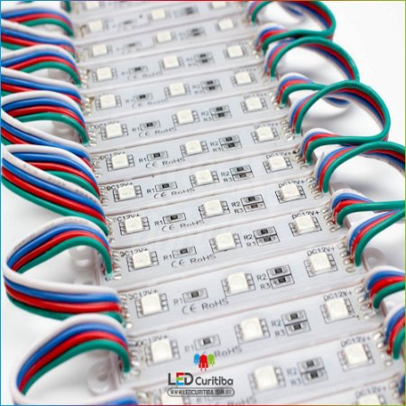 Kit 100 Módulo Led Para Letra Caixa RGB Smd 5050 12v Ip65 Externo