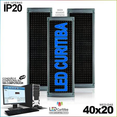Painel Letreiro de Led 40x20 Azul Interno Conexão via USB IP20