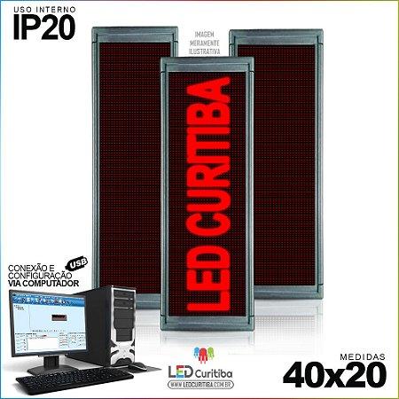 Painel Letreiro de Led 40x20 Vermelho Interno Conexão via USB IP20
