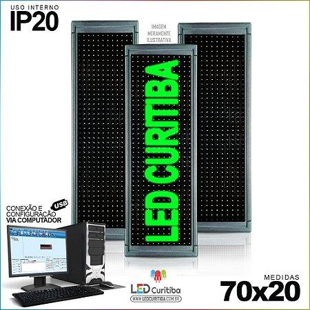 Painel Letreiro de Led 70x20 Verde Interno Conexão via USB IP20