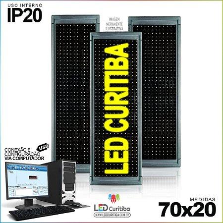 Painel Letreiro de Led 70x20 Amarelo Interno Conexão via USB IP20