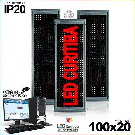 Painel Letreiro de Led 100x20 Vermelho Interno Conexão via USB IP20