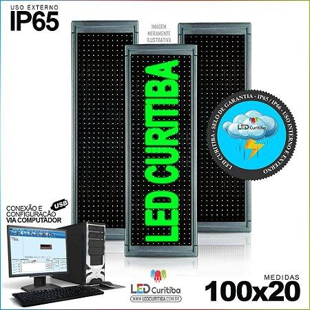 Painel Letreiro de Led 100x20 Verde Interno / Externo Conexão via USB IP65
