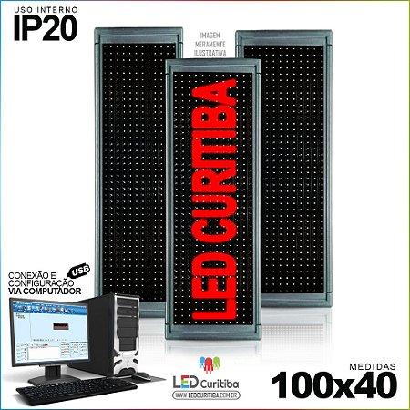 Painel Letreiro de Led 100x40 Vermelho Interno Conexão via USB IP20