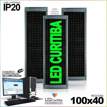 Painel Letreiro de Led 100x40 Verde Interno Conexão via USB IP20