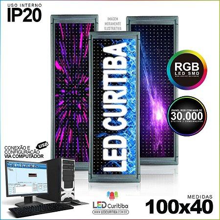 Painel Letreiro de Led 100x40 Pastilha RGB Interno Conexão via USB IP20