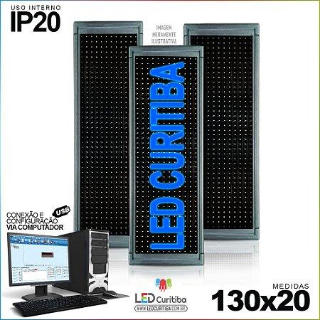 Painel Letreiro de Led 130x20 Azul Interno Conexão via USB IP20