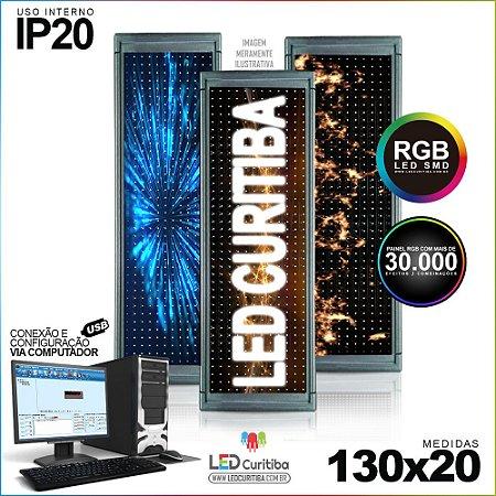 Painel Letreiro de Led 130x20 Pastilha RGB Interno Conexão via USB IP20