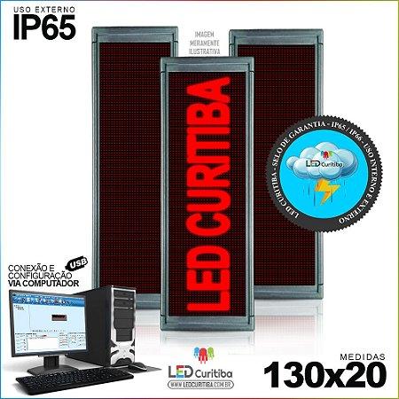 Painel Letreiro de Led 130x20 Vermelho Interno / Externo Conexão via USB IP65
