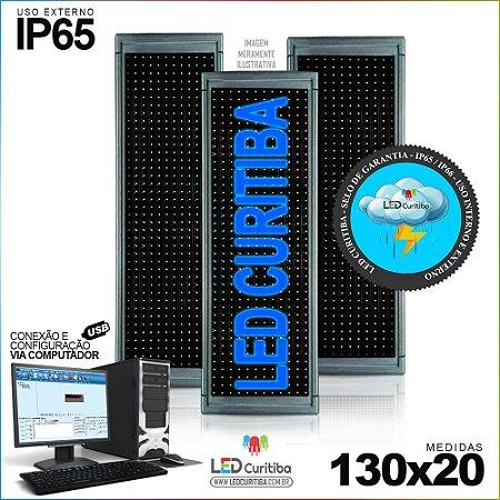 Painel Letreiro de Led 130x20 Azul Interno / Externo Conexão via USB IP65