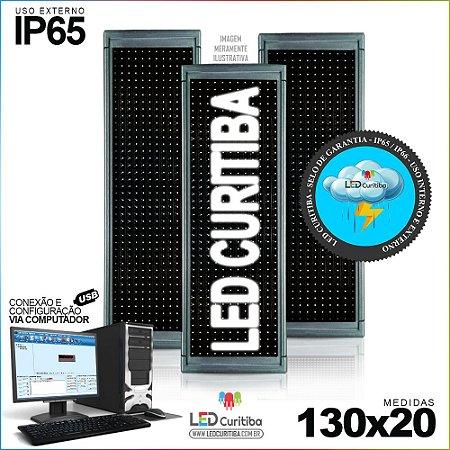 Painel Letreiro de Led 130x20 Branco Interno / Externo Conexão via USB IP65