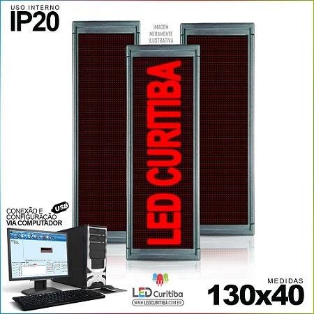 Painel Letreiro de Led 130x40 Vermelho Interno Conexão via USB IP20