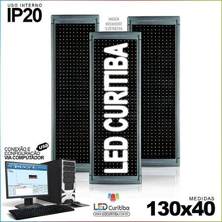 Painel Letreiro de Led 130x40 Branco Interno Conexão via USB IP20