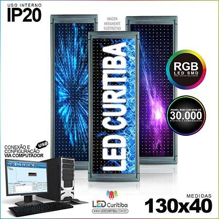Painel Letreiro de Led 130x40 Pastilha RGB Interno Conexão via USB IP20