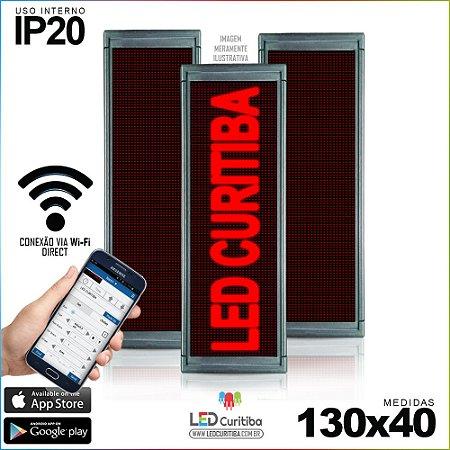 Painel Letreiro de Led 130x40 Vermelho Interno Conexão via Wi-Fi IP20