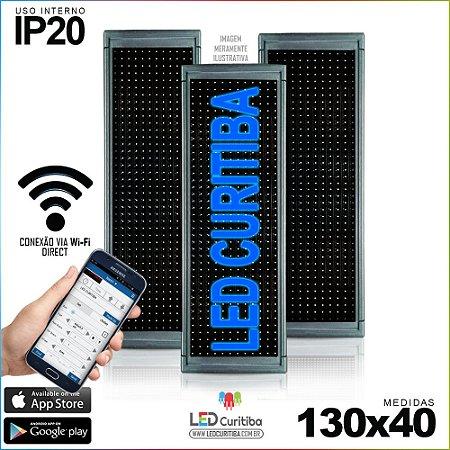 Painel Letreiro de Led 130x40 Azul Interno Conexão via Wi-Fi IP20