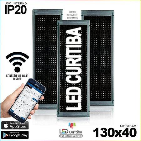 Painel Letreiro de Led 130x40 Branco Interno Conexão via Wi-Fi IP20