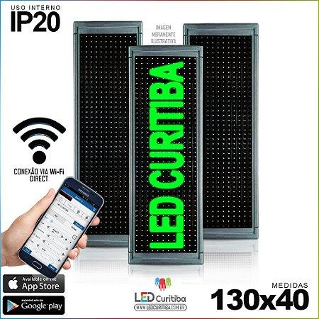 Painel Letreiro de Led 130x40 Verde Interno Conexão via Wi-Fi IP20