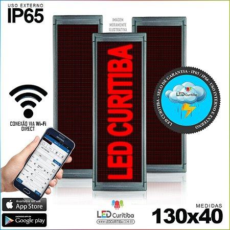 Painel Letreiro de Led 130x40 Vermelho Interno / Externo Conexão via Wi-Fi IP65