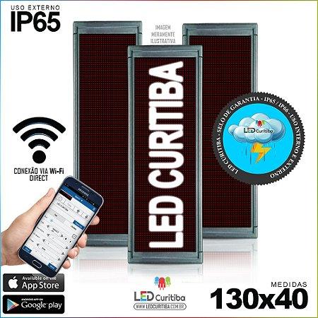 Painel Letreiro de Led 130x40 Branco Interno / Externo Conexão via Wi-Fi IP65