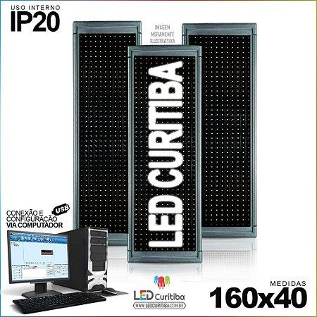 Painel Letreiro de Led 160x40 Branco Interno  Conexão via USB IP20