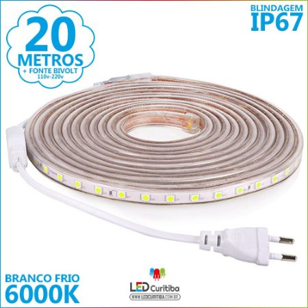20m Mangueira De Led Branco Frio 6000K IP67 + Fonte 110v
