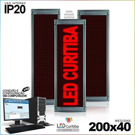 Painel Letreiro de Led 200x40 Vermelho Interno Conexão via USB IP20