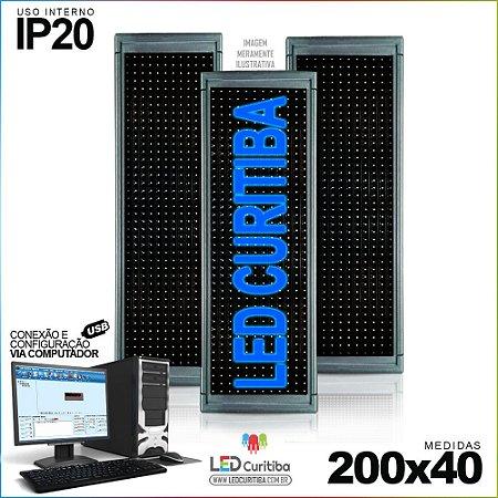 Painel Letreiro de Led 200x40 Azul Interno Conexão via USB IP20