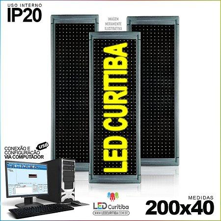 Painel Letreiro de Led 200x40 Amarelo Interno Conexão via USB IP20