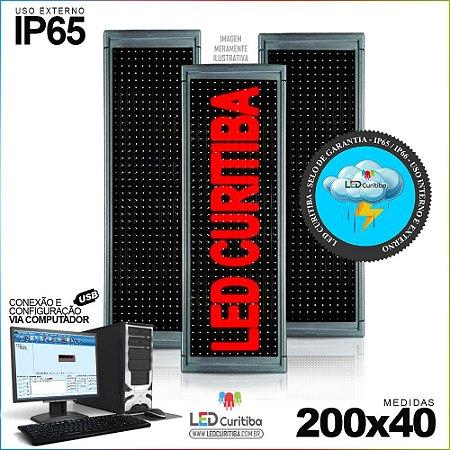 Painel Letreiro de Led 200x40 Vermelho Interno / Externo Conexão via USB IP65