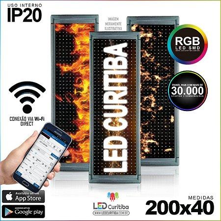 Painel Letreiro de Led 200x40 Pastilha RGB Interno Conexão via Wi-Fi IP20