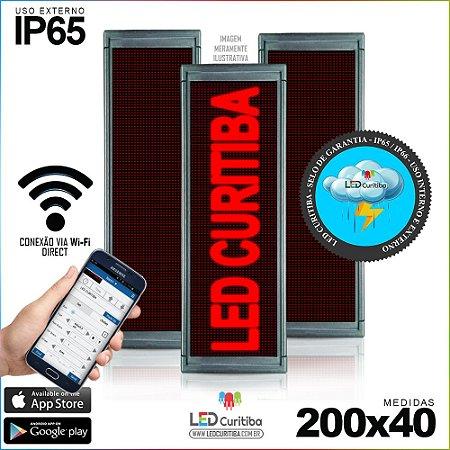 Painel Letreiro de Led 200x40 Vermelho Interno / Externo Conexão via Wi-Fi IP65