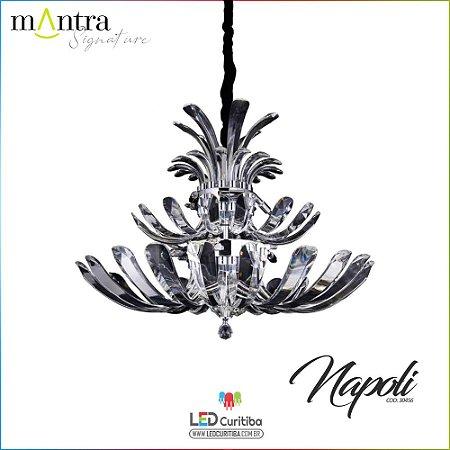 Lustre e Arandela Napoli Metal Cromado 3/11 Braços G9 40w Cristal Transparente