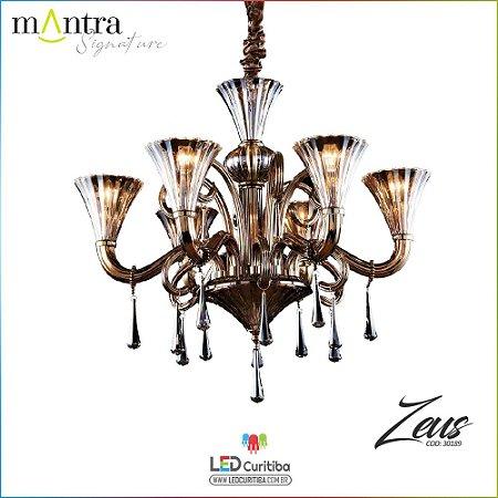 Lustre e Arandela Zeus Metal Dourado (30189/30190/30192) 2/6/24 Braços E14 40w