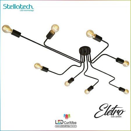 LUSTRE PLAFON STELLA DE SOBREPOR ELETRO - 8xE27 127v / 220v - 600x800x200x120 (mm) Preto