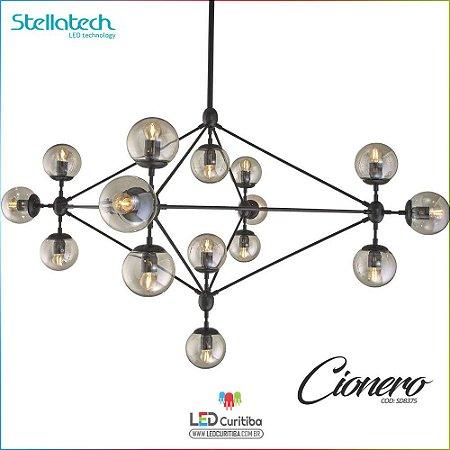 LUSTRE PENDENTE STELLA CIONERO (148cm) - 15xE27 127v / 220v - 1480x1100xx720x500x120 (mm) Preto