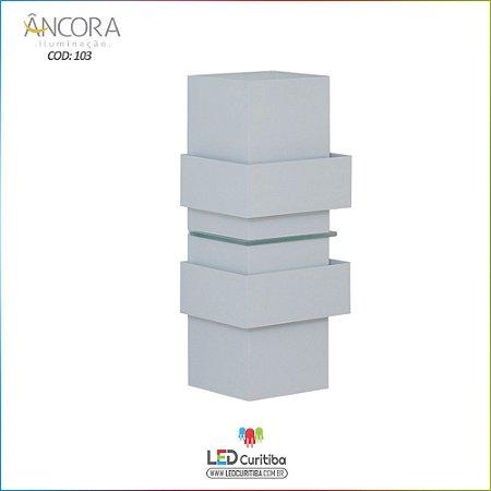 Arandela #103 Branca Interna / Externa 2 Lampadas G9 100x100x310mm - Halopin 40w / 3w Led