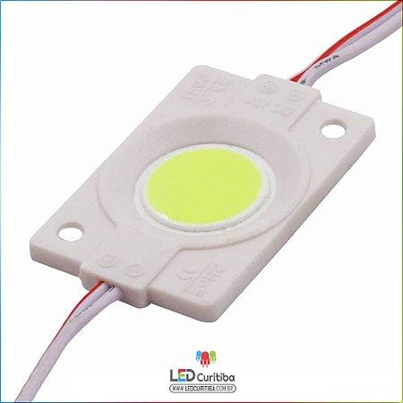 Módulo LED Cob 4530 12v 2,4w Lente 160º Branco Frio 6000K IP66 Interno/Externo