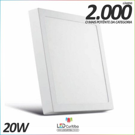 Plafon de Sobrepor 20w Nogaled 17x17cm 2000 lúmens 6500K Branco Frio