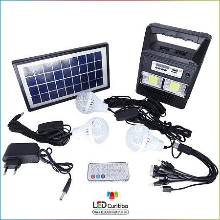 Carregador Portátil Solar Com 3 Lampadas Radio Mp3 Lanterna Carregador de Celular