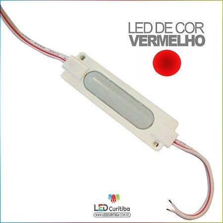 Módulo LED Cob 7050 12v 2,4w Lente 160º Vermelho IP66 Interno/Externo 6 Leds